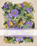 Флористическая карточка приглашения, ретро цветки и листья Стоковая Фотография