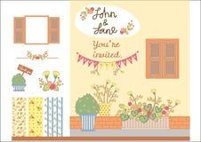 Флористическая карточка свадьбы Стоковые Изображения
