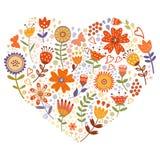 Флористическая карточка сердца Стоковые Изображения