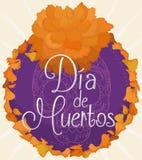 Флористическая кнопка с лепестками Cempasuchil для мексиканца & x22; Dia de Muertos& x22; , Иллюстрация вектора Стоковые Фотографии RF