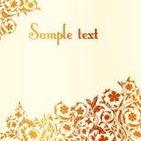Флористическая открытка с декоративными элементами. бесплатная иллюстрация