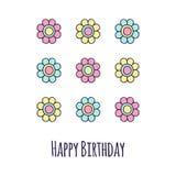 Флористическая поздравительая открытка ко дню рождения Стоковые Изображения RF