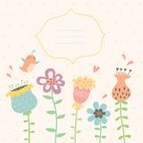 Флористическая поздравительная открытка вектора Стоковые Фотографии RF