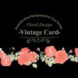 Флористическая поздравительная открытка с красными розами Стоковое Изображение RF