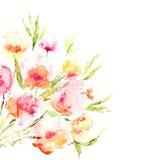 Флористическая предпосылка. Букет акварели флористический. Поздравительая открытка ко дню рождения. Стоковое фото RF