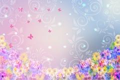 Флористическая предпосылка в розовых и голубых цветах Стоковые Изображения