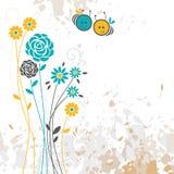 Флористическая предпосылка, пчела Стоковое Изображение