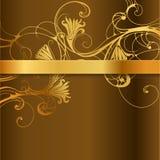 Флористическая предпосылка с золотым диапазоном Стоковое Изображение
