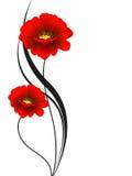 Флористическая предпосылка с красными цветками, элемент дизайна Стоковая Фотография RF