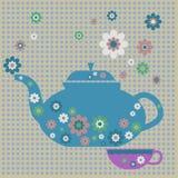 Флористическая предпосылка чайника, год сбора винограда, вектор Стоковое Изображение