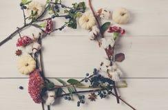 Флористическая рамка высушенных цветков на белой древесине, взгляд сверху Стоковые Фото