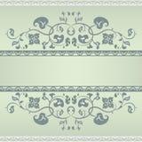 Флористическая рамка картины. Зеленый цвет и серый цвет Стоковое Изображение RF