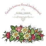 Флористическая рамка с цветками лета Флористический букет с поднял, автомобиль Стоковое Изображение RF