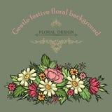 Флористическая рамка с цветками лета Флористический букет с поднял, narc Стоковое фото RF