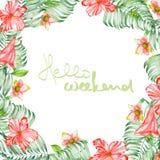 Флористическая рамка цветков акварели красных экзотических, гибискуса и листьев ладоней, места для текста Стоковое фото RF