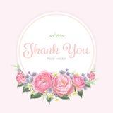 Флористическая рамка цветков розы пинка Стоковое Изображение RF