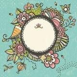 Флористическая рамка doodle с космосом для текста Стоковое Фото