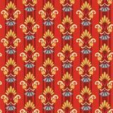 Флористическая striped картина на красной предпосылке Иллюстрация вектора