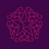 Флористические вензеля конструируют шаблон с звездой, грациозно журналом lineart иллюстрация штока