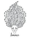 флористические волосы девушки Женщина с цветками в голове Дизайн лета взрослые молодые кровопролитное бесплатная иллюстрация