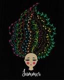 флористические волосы девушки Женщина с цветками в голове Дизайн лета взрослые молодые кровопролитное иллюстрация штока