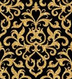 флористические золотистые обои Стоковое Изображение