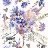 Флористические иллюстрация или картина с полем цветут в годе сбора винограда Стоковые Фото