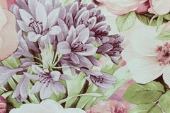 Флористические обои предпосылки на стене Стоковая Фотография