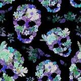 Флористические черепа с цветками картина безшовная акварель Стоковые Изображения