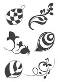 Флористические элементы в различных стилях для орнамента и украшения Стоковое Изображение RF