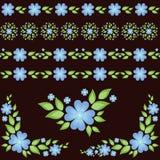 Флористические элементы и безшовные прокладки иллюстрация штока