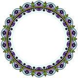 Флористический венок в стиле zentangle Объезжайте рамку сделанную из геометрических ягод и листьев иллюстрация штока