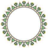 Флористический венок в стиле zentangle Объезжайте рамку сделанную геометрических солнцецветов и треугольников иллюстрация штока