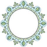 Флористический венок в стиле zentangle Рамка круга сделанная из геометрических элементов и листьев иллюстрация штока