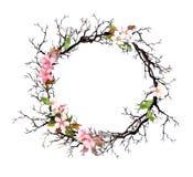 Флористический венок - розовые цветки акварель рамки круглая бесплатная иллюстрация