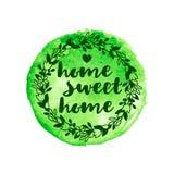 Флористический венок с надписью на зеленом пятне акварели Стоковое фото RF