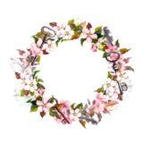 Флористический венок с цветками весны, ключами Граница акварели круглая Стоковая Фотография