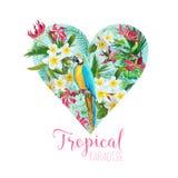 Флористический графический дизайн сердца - тропические цветки и птица попугая иллюстрация штока