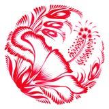 Флористический декоративный гибискус красного цвета орнамента Стоковая Фотография