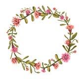 Флористический дизайн - букет круга сделанный из проиллюстрированных цветков Стоковое фото RF