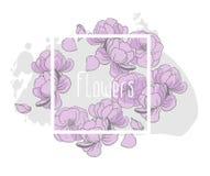 Флористический дизайн карточки приглашения вектора Бесплатная Иллюстрация
