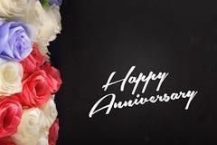 Флористический дизайн для счастливой годовщины Стоковая Фотография