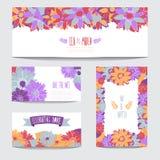 Флористический комплект карточек Стоковое Изображение