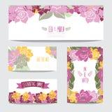 Флористический комплект карточек Стоковое фото RF