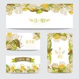 Флористический комплект карточек Стоковые Изображения RF