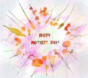 Флористический круглый венок на день матерей с милым наивным цветком и листьями Покрашенный Watercolour Стоковое Фото