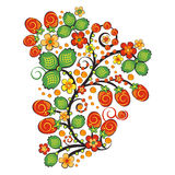 Флористический орнамент в стиле Hohloma Русский фольклор Стоковые Изображения RF