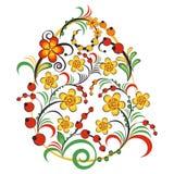 Флористический орнамент в стиле Hohloma Русский фольклор Стоковая Фотография