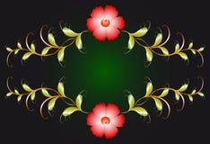 Флористический орнамент и красные цветки на темноте EPS10 Стоковое Фото