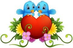 Флористический орнамент с сердцем и голубыми птицами иллюстрация вектора